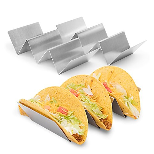 2 Pack - Stylish Stainless Steel Taco Holder Stand