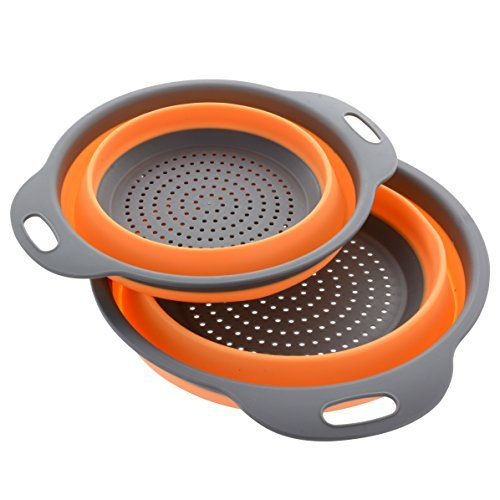 Kitchen Maestro Collapsible Silicone Colander/Strainer. Includes 2 Sizes