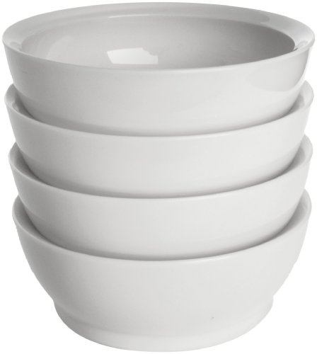 CaliBowl Non-Spill 28-Ounce Low Profile Bowl with Non-Slip Base, Set of 4, White