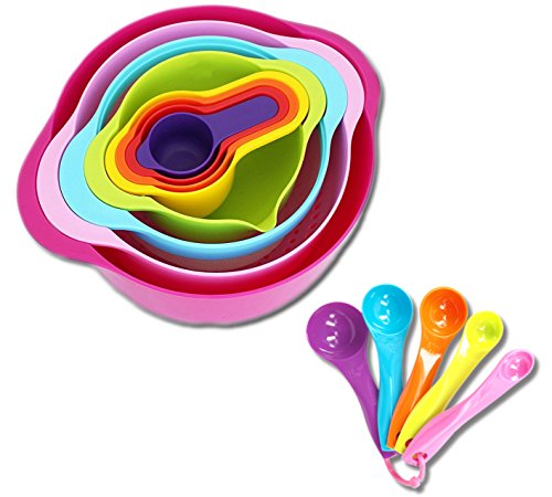 13 Piece Mixing Bowl Set with Measuring Cups and Spoons Mixing Bowls