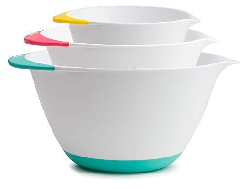 Mixing Bowls - 3 piece set 1.8 Qt, 3.6 Qt, 6.5 Qt, Easy Grip Handle With Non - Skid Bottom