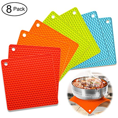 Silicone Pot Holder Trivet Mats Hot Pads Spoon Rest, Multipurpose Trivet for Hot Dishers Heat Resistant Food Grade Silicone