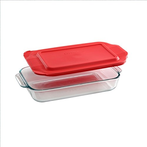 2 Quart Glass Oblong Baking Dish with Plastic Lid - 7 inch x 11 Inch