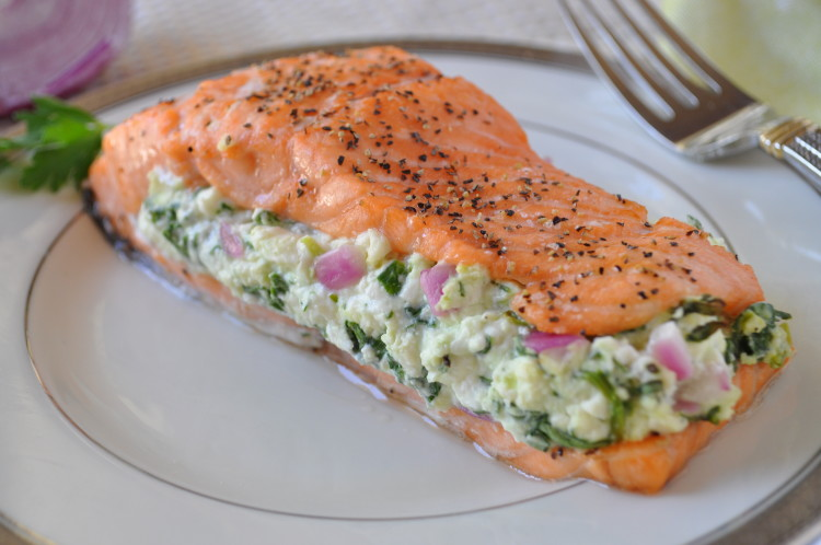 Salmon with Spinach Feta Stuffing | Healthy Thanksgiving Recipes | Homemade Recipes