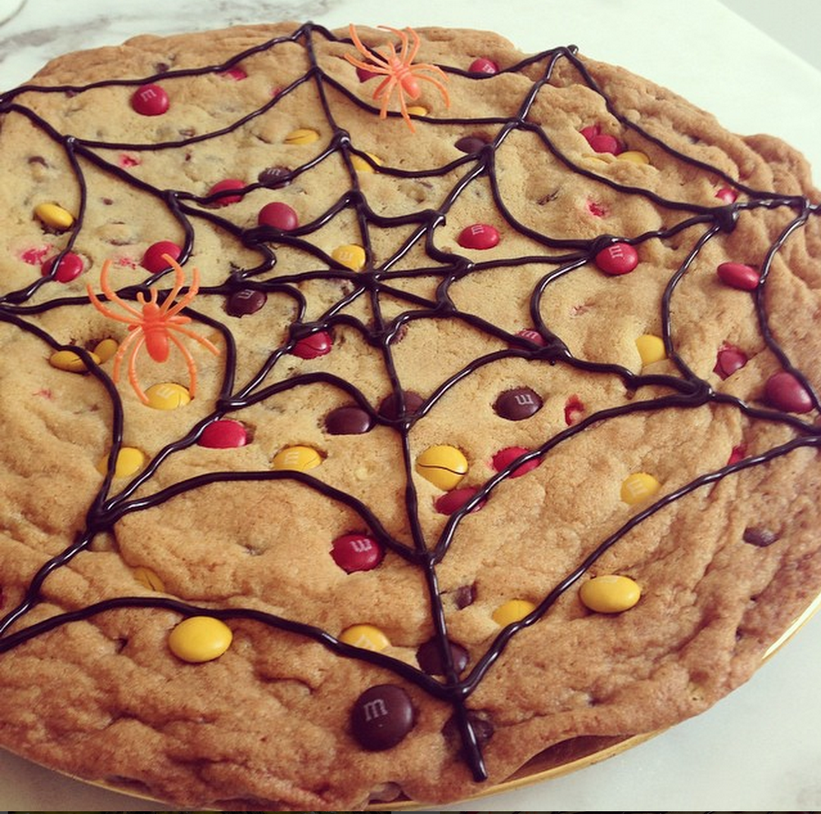 slice and bake chocolate chip cookies make halloween spider web